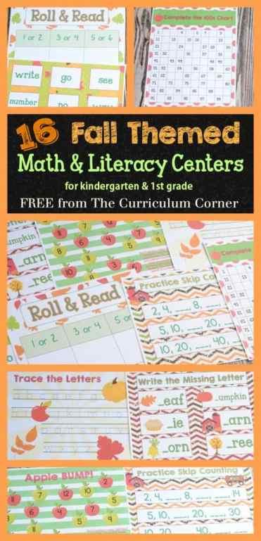 HUGE FREEBIE 16 Fall Math & Literacy Centers for Kindergarten & First Grade from The Curriculum Corner