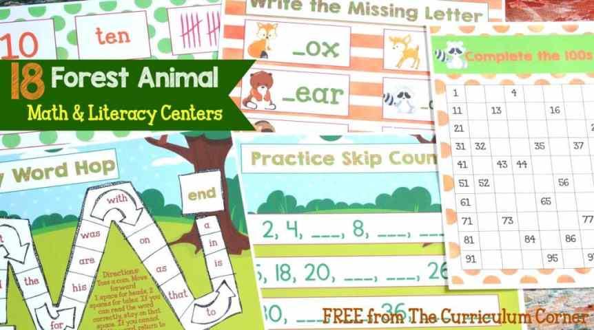 18 Forest Animal Math & kindergarten Literacy Centers for kindergarten & first grades - FREE from The Curriculum Corner