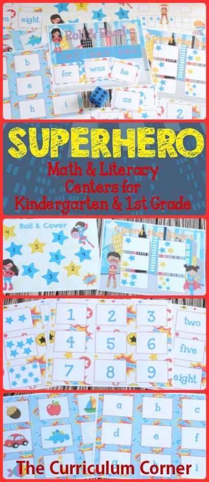 FREEBIE Superhero Centers! 14 FREE Math & Literacy Centers from The Curriculum Corner | kindergarten & 1st grade classrooms