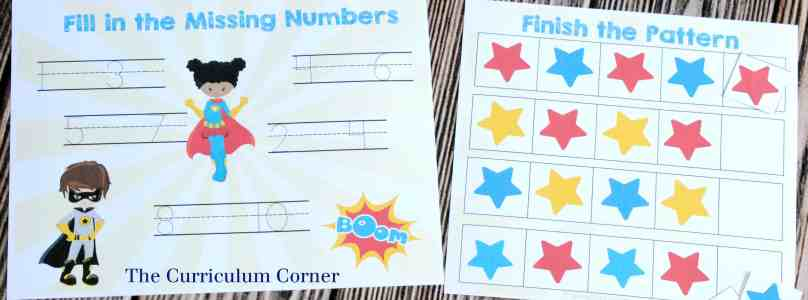 FREEBIE! 14 FREE Superhero Math & Literacy Centers from The Curriculum Corner | for kindergarten & 1st grade