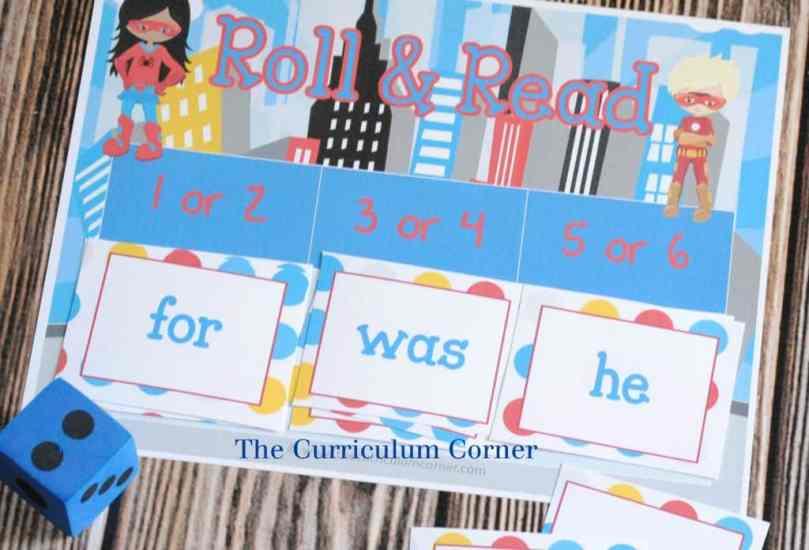 FREEBIE! Fry word games - 14 FREE Superhero Math & Literacy Centers from The Curriculum Corner | kindergarten & 1st grade classrooms