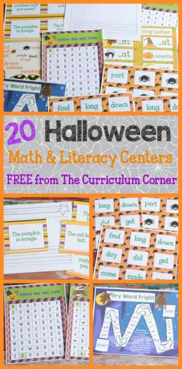 HUGE FREE COLLECTION! 20 Halloween Themed Math & Literacy Centers from The Curriculum Corner