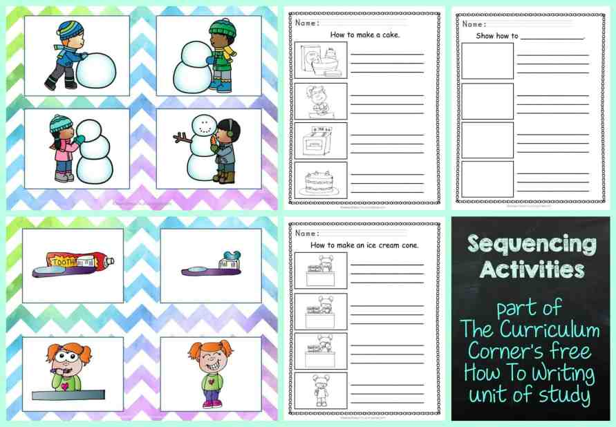 FREE How To Writing Unit of Study from The Curriculum Corner | Sequencing Activities