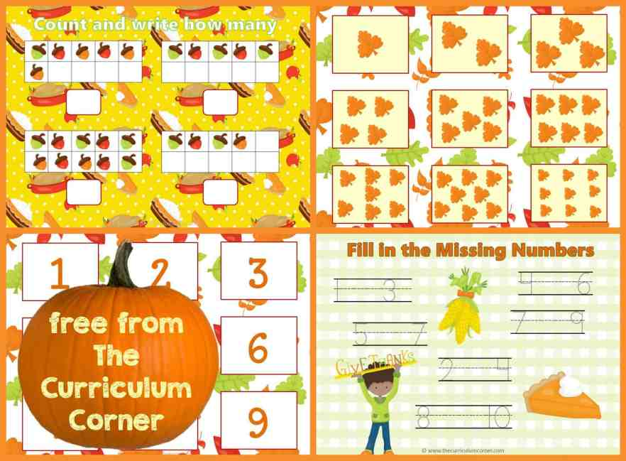 FREE Thanksgiving Math & Literacy Centers from The Curriculum Corner | Fry Words | Math | Letters | FREEBIE