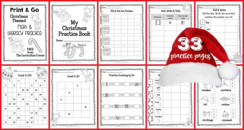 33 FREEBIE Pages! Print & Go Kindergarten & 1st Grade Practice Pages for Christmas from The Curriculum Corner | Fry Words | Number Sense