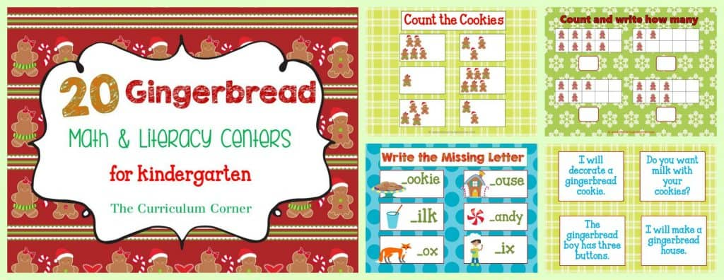FREEBIE! Gingerbread Man Centers for Math & Literacy from The Curriculum Corner   counting, Fry words, BUMP, roll & read, roll & write, write the room and much more!