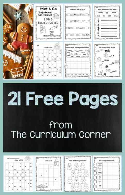 FREE Gingerbread Print & Go Math and LIteracy Practice Pages by The Curriculum Corner