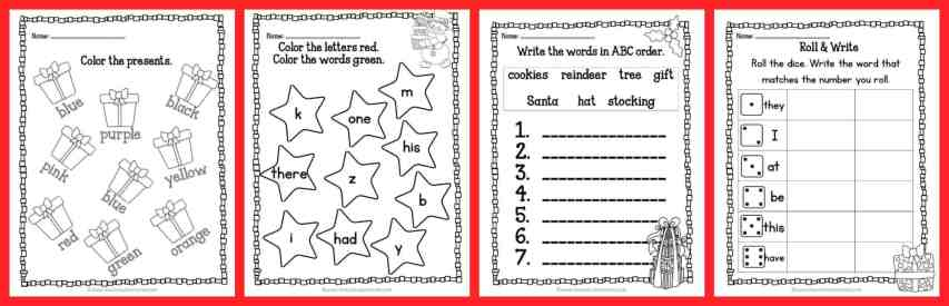 33 FREEBIE Pages! Print & Go Kindergarten & 1st Grade Practice Pages for Christmas from The Curriculum Corner | Fry Words | Number Sense | Lots of skills covered!