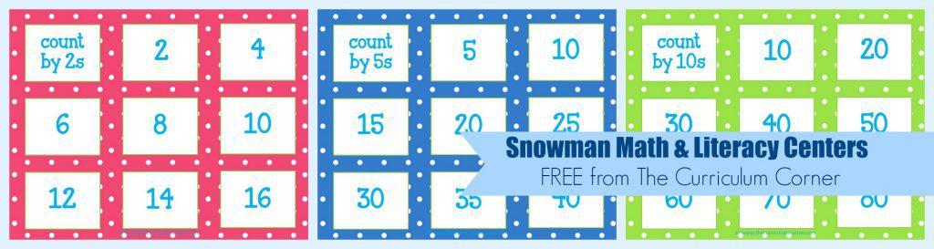 FREE Snowman Math & Literacy Centers from The Curriculum Corner   kindergarten   1st grade   winter   snowmen   center work