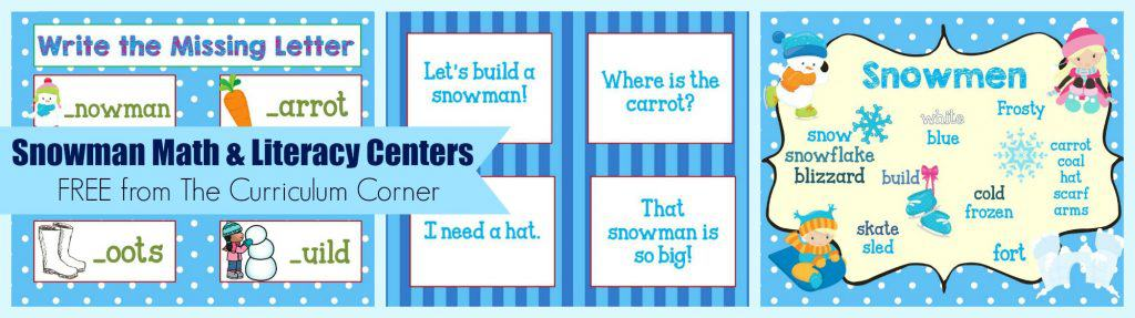 FREE Snowman Math & Literacy Centers from The Curriculum Corner   kindergarten   1st grade   winter   snowmen   skill practice