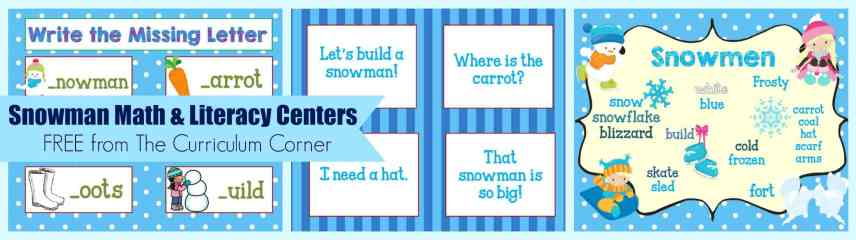 FREE Snowman Math & Literacy Centers from The Curriculum Corner | kindergarten | 1st grade | winter | snowmen | skill practice