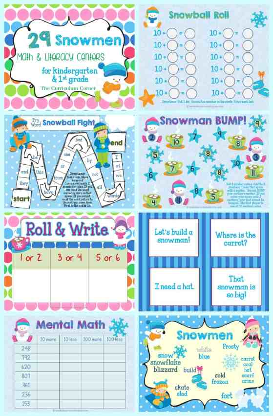 FREE Snowman Math & Literacy Centers from The Curriculum Corner | kindergarten | 1st grade | winter | snowmen | FREEBIES! | skill practice