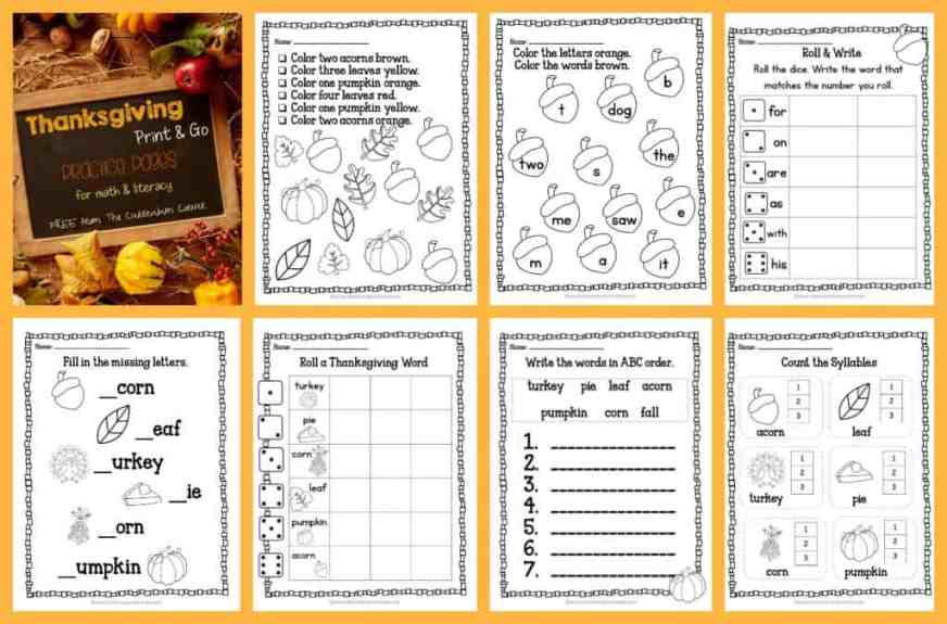 FREE Thanksgiving Print & Go Practice Pages for math & literacy practice | The Curriculum Corner, homework, morning work