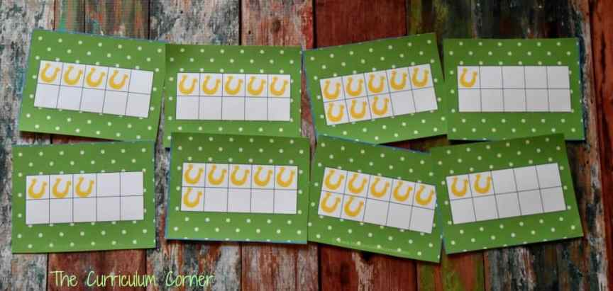 FREE St. Patrick's Day Math & Literacy Centers from The Curriculum Corner 10 Frames Flash Cards