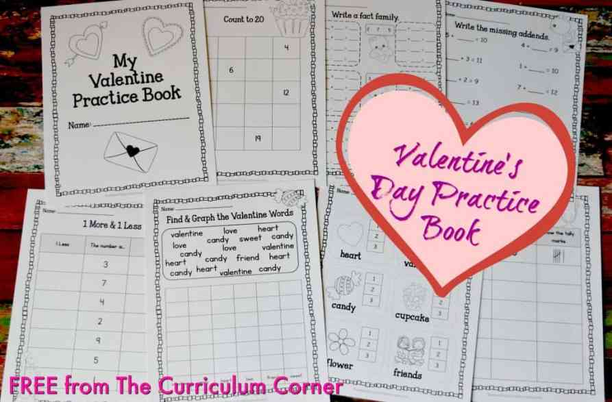 FREE Valentine Practice Pages from The Curriculum Corner FREEBIE!