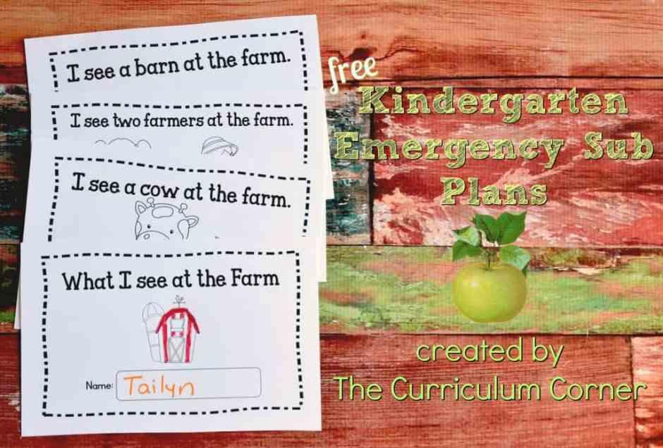FREE Kindergarten Sub Plans