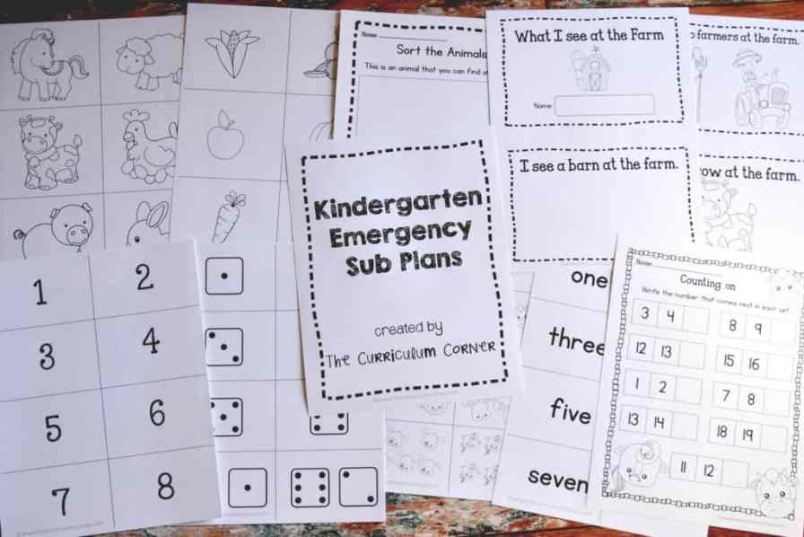 Emergency Sub Plans for Kindergarten