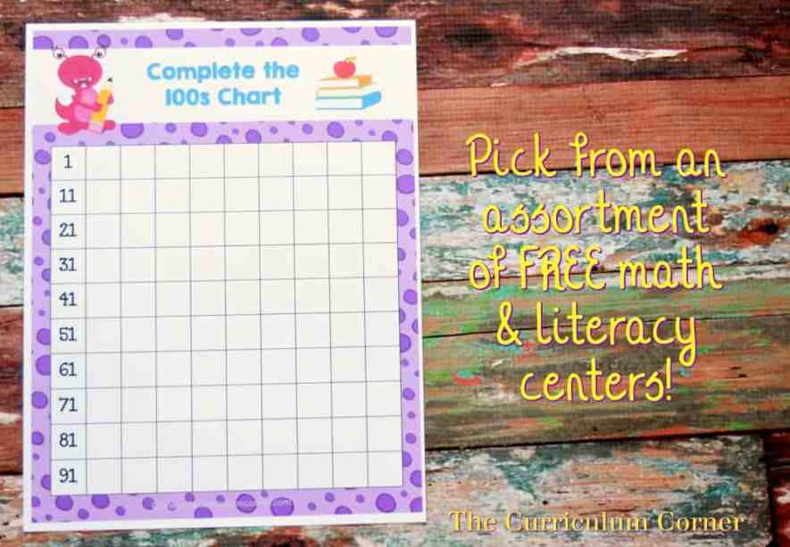 FREE Back to School Centers from The Curriculum Corner 4