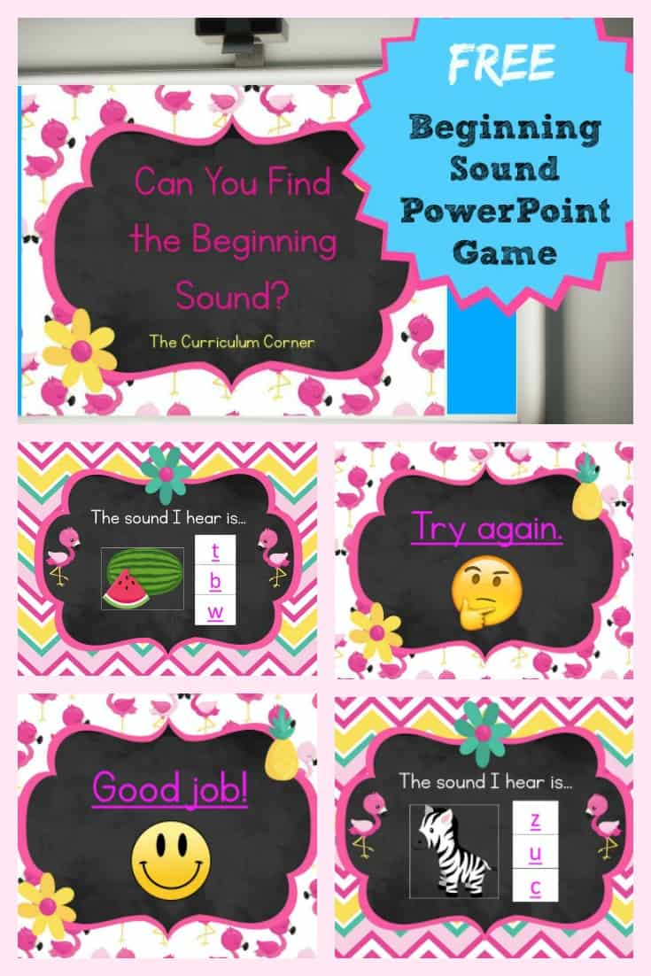 FREE Beginning Letter Sound PowerPoint Game from The Curriculum Corner
