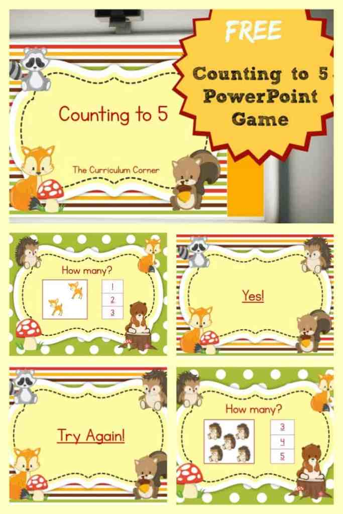 FREE Counting to 5 PowerPoint Game from The Curriculum Corner