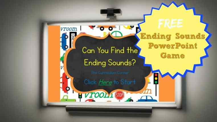 FREE Ending Sounds PowerPoint Game from The Curriculum Corner