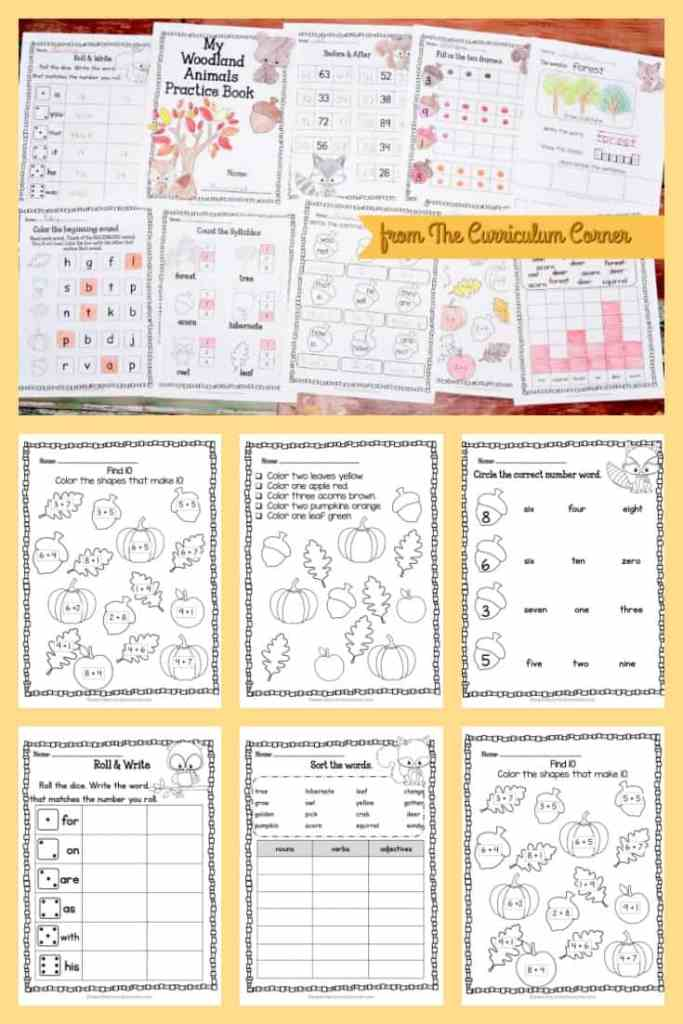 FREE Woodland Animals Print & Go Practice Pages for Math & Literacy from The Curriculum Corner