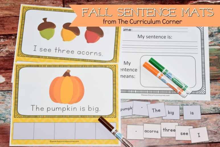 FREE Fall Scrambled Sentences Mats from The Curriculum Corner