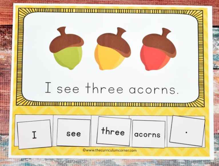 FREE Fall Scrambled Sentence Mats from The Curriculum Corner 2