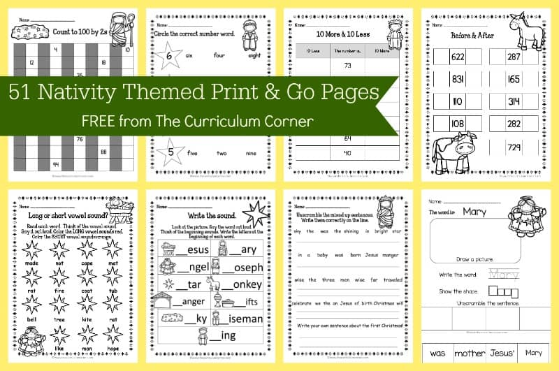 Nativity Themed Printables FREE from The Curriculum Corner 3