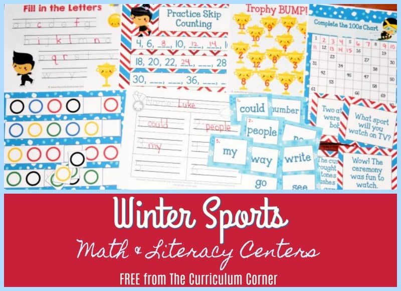 Use these winter sports games activities to help you plan engaging math and literacy centers for your classroom.