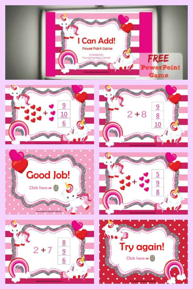 FREE Valentine's Day Addition Facts PowerPoint Game from The Curriculum Corner