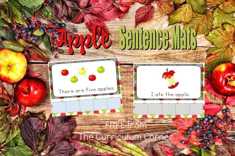 Apples Scrambled Sentence Mats - The Kinder Corner