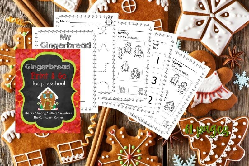 This free gingerbread preschool print and go collection is designed to give your preschool and prekindergarten students gingerbread themed practice.