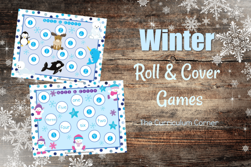 We have created this free winter roll and cover set to help your students practice identifying the numbers one through six.