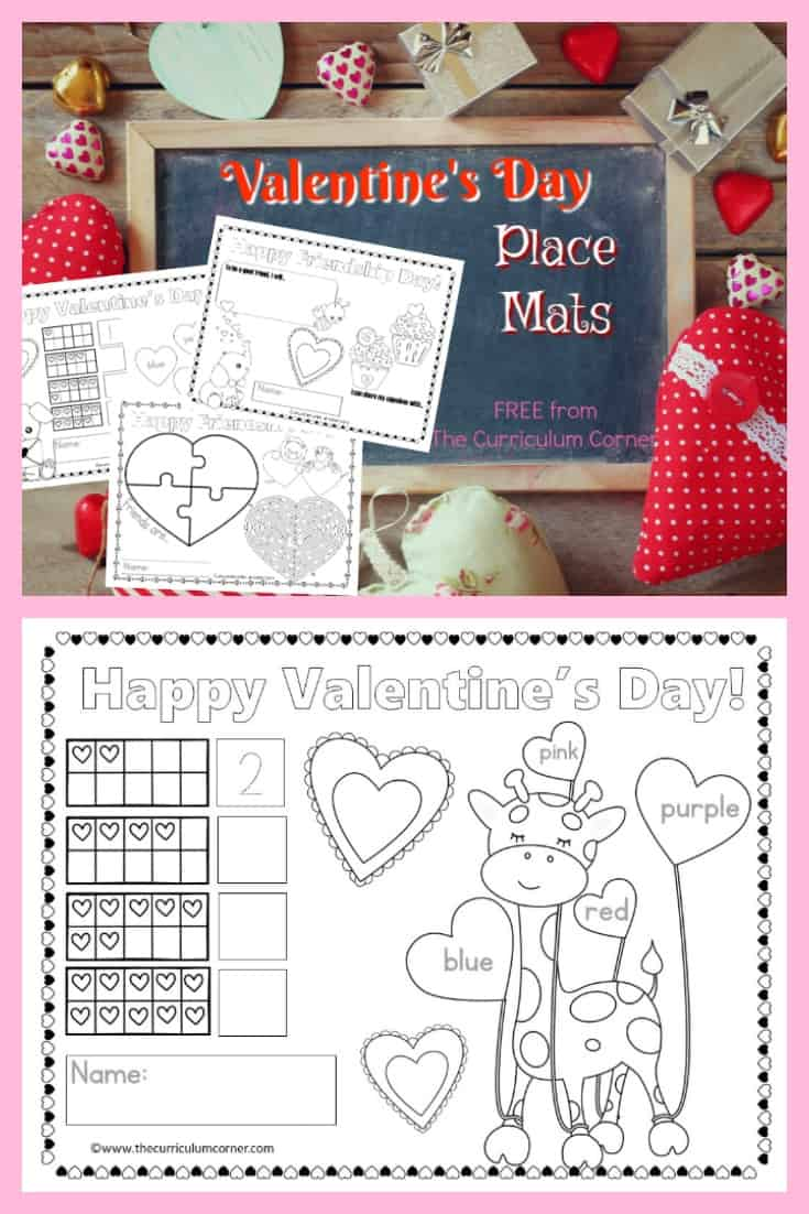 Use these fun and free Valentine's Day place mats to add a little fun to your Valentine's Day table - either at school or at home! This free set includes six different place mats.