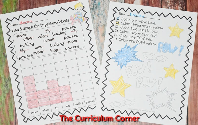 This free collection of math and literacy superhero practice pages (superhero worksheets) for print & go review is designed for skill practice.
