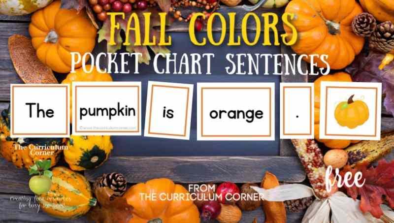 Fall Pocket Chart Color Sentences
