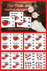 hot chocolate counting clip cards