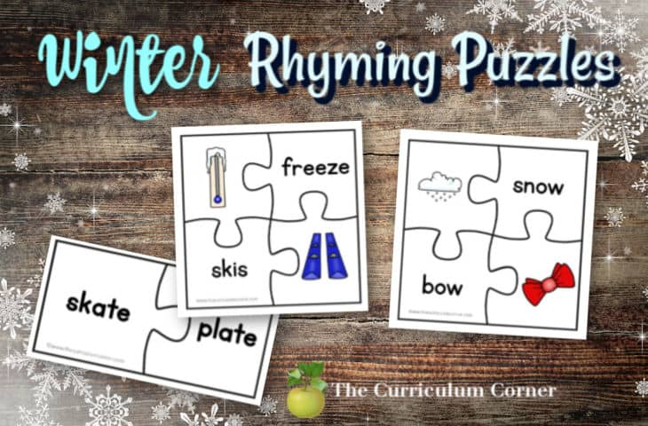 winter rhyming puzzles
