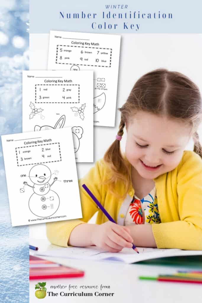Help students practice number ID with this free winter number identification color key set.