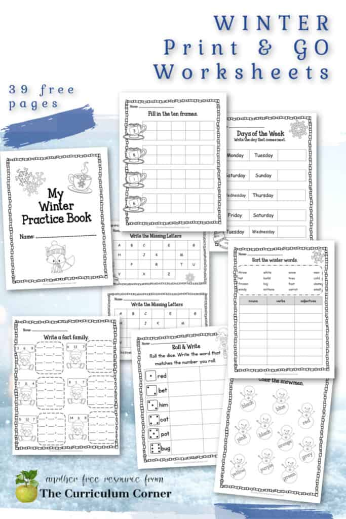 This free collection of math and literacy winter print & go pages are designed for classroom use.