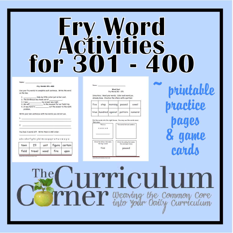Fry Fourth Hundred Printables 301
