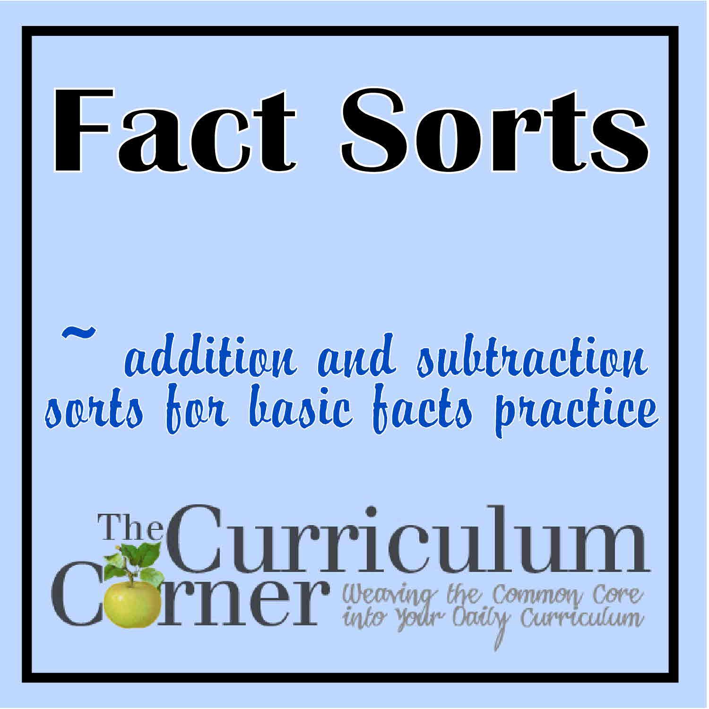 Math Fact Sorts - The Curriculum Corner 123