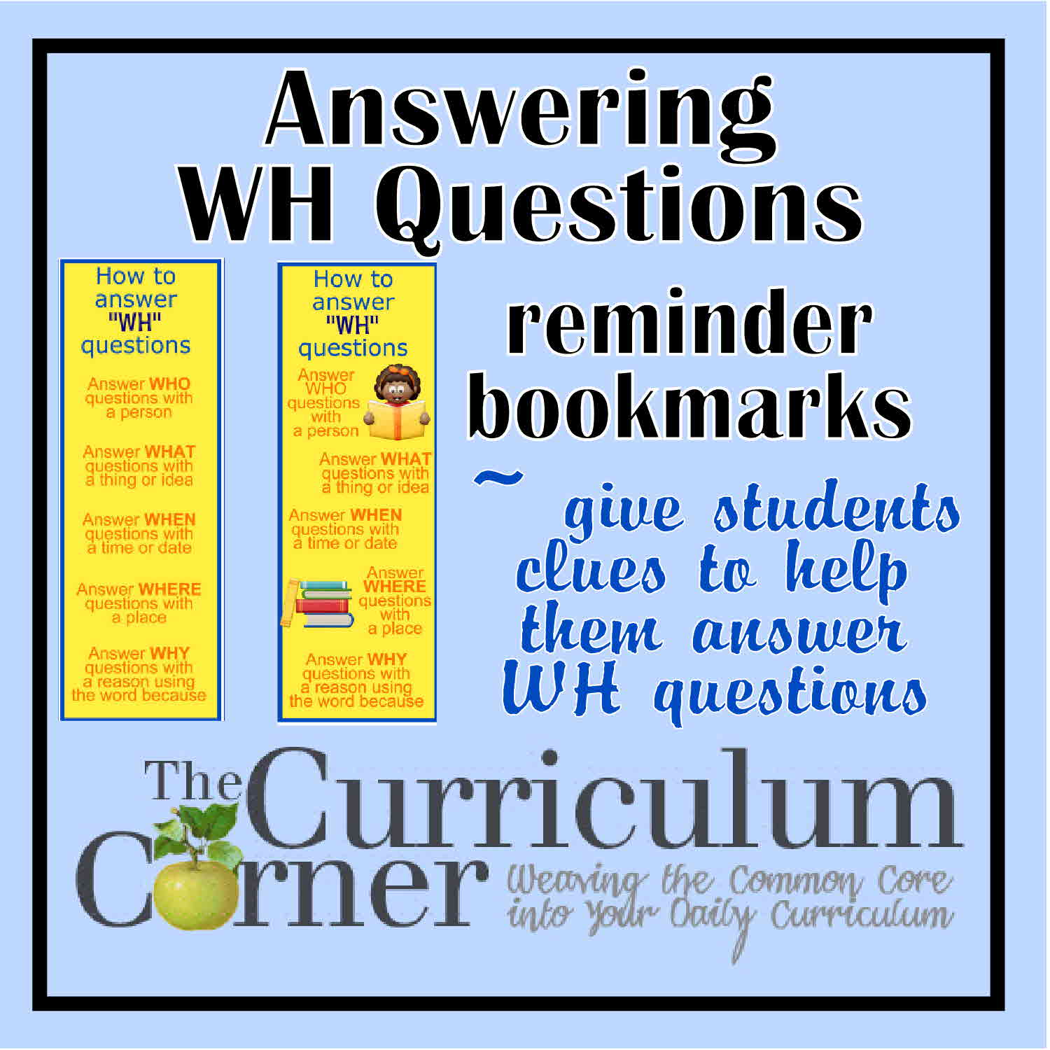Answering Wh Questions Reminder Bookmarks