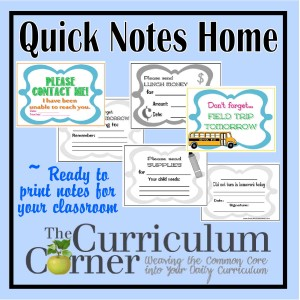 Quick Notes Home from The Curriculum Corner