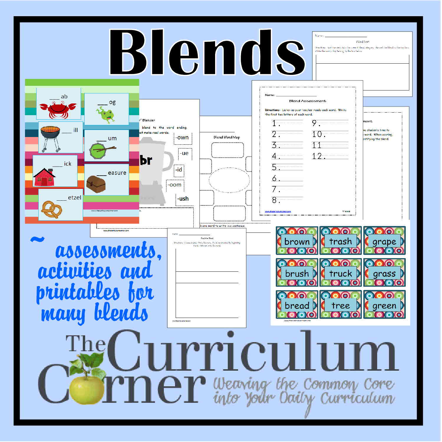 worksheet S Blends Worksheet working with blends the curriculum corner 123 word work blends