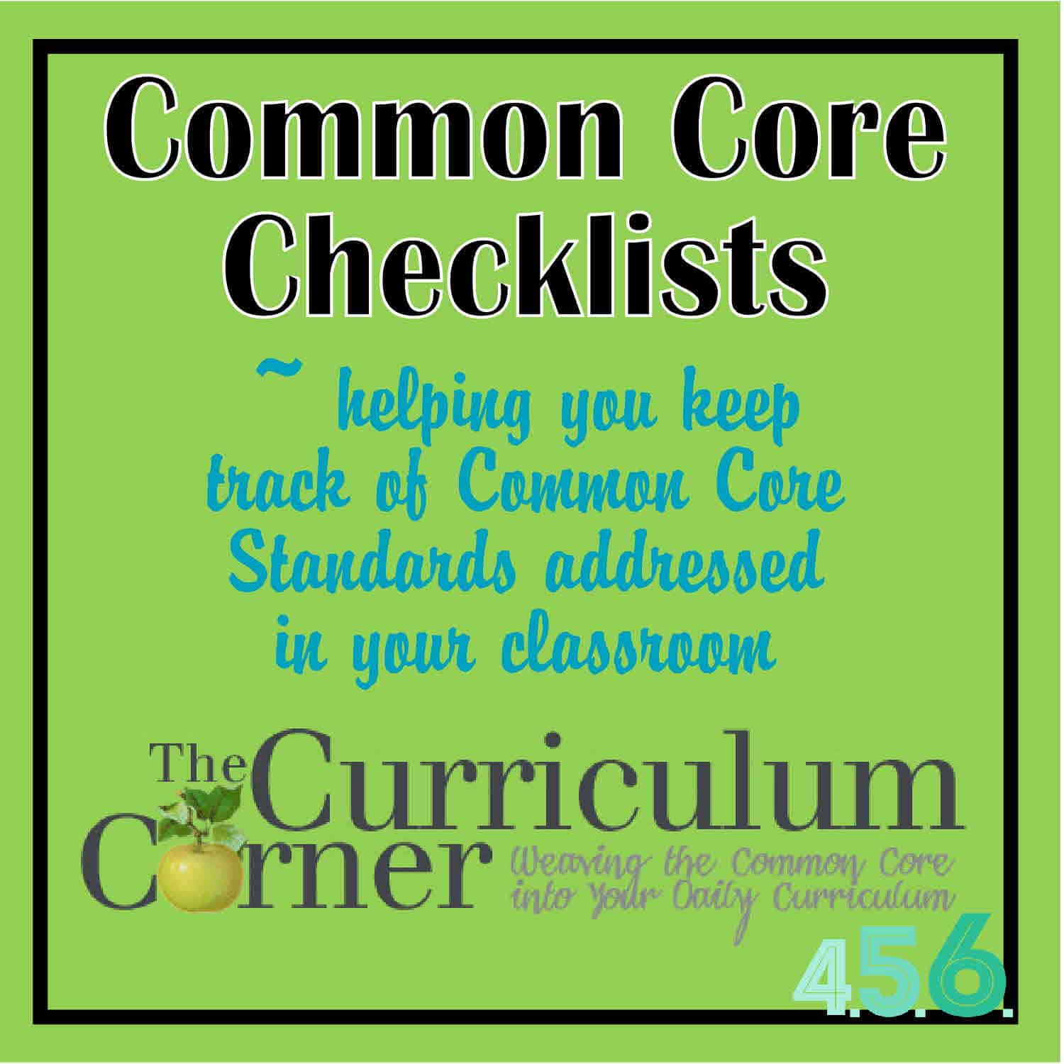 4th 5th And 6th Grade Common Core Checklists