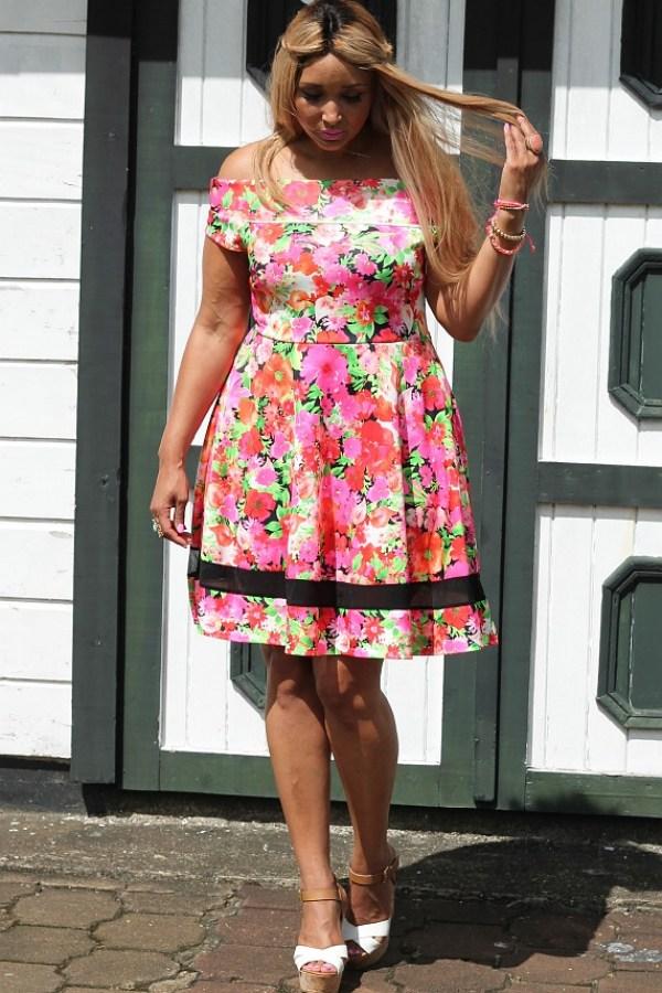Neon Floral off shoulder skater dress