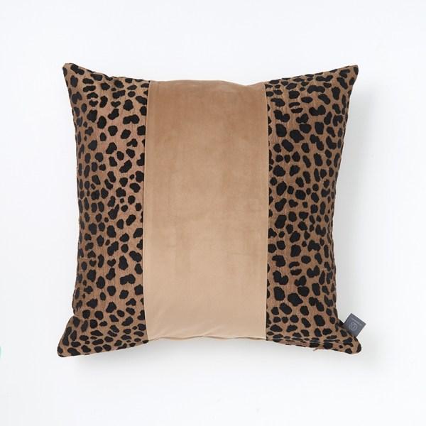 Camel-animal-print-plain-stripe-three-panel-cushion