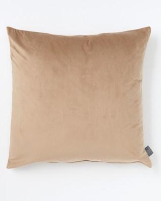 Camel Colour Faux Velvet Cushion